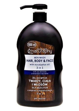 Żel do mycia twarzy, ciała i włosów dla mężczyzn z olejkiem eukaliptusowym 3w1 1L